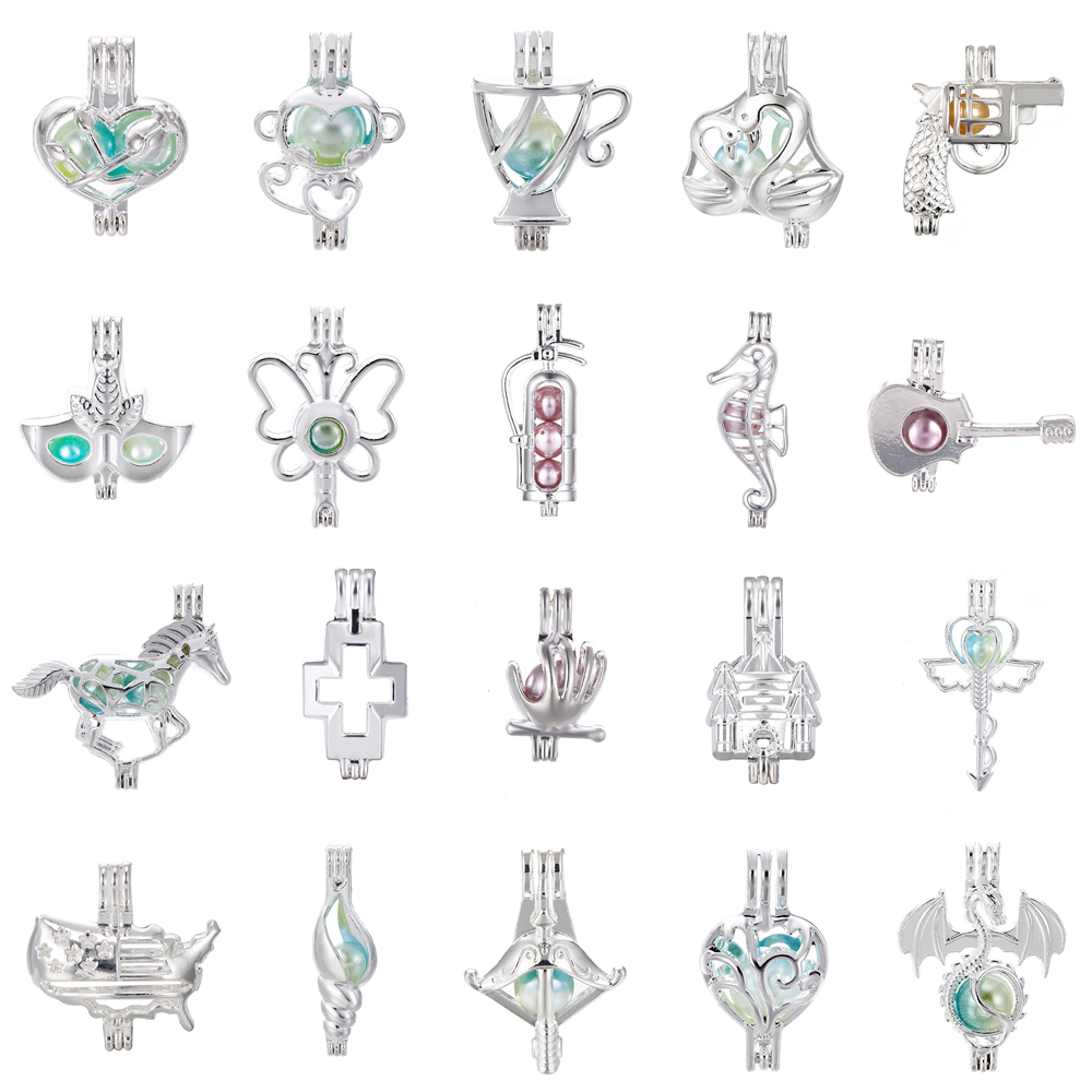 1pcs Silver Dragon Swan Monkey Mask Horse Rose Oyster Pearl Cage Jewelry Making Beads Cage Pendant Essential Oil Diffuser Locket jewelry making