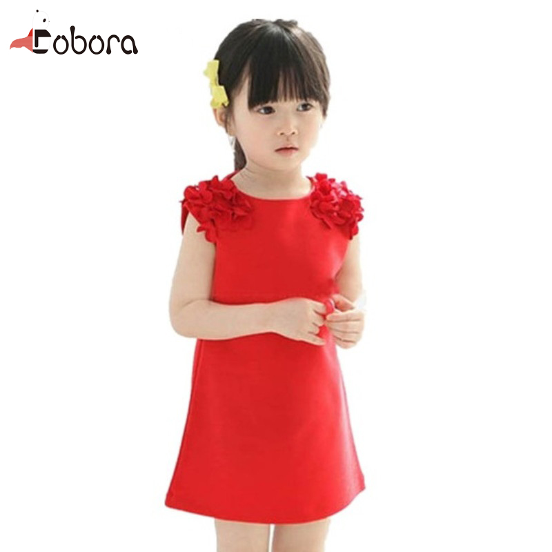 2017 New Spring Summer Girls Dress Summer Sleeveless Flower Shoulder Princess Dress Baby Girl Birthday Dresses Baby Dresses