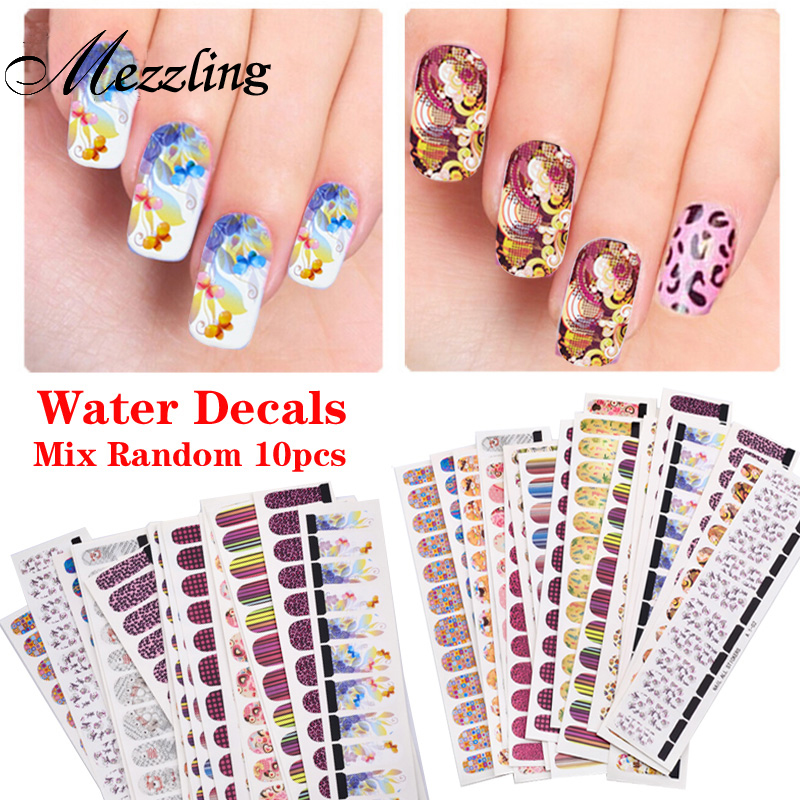 (Gaga Deal) 10 sheets Hot Flowers Leopard Designs Water Transfer Nail Art Stickers Decals Full Cover DIY Beauty Nail Decorations 2016 2sheets manicure tips beauty purples oil printing 3d diy designs nail art water transfer stickers decals full cover xf1405