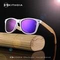 2017 Cor Branca de Bambu De Bambu De Madeira óculos de Sol das Mulheres Polarized homens Óculos De Sol Com Proteção UV 400 Com Caixa De Madeira