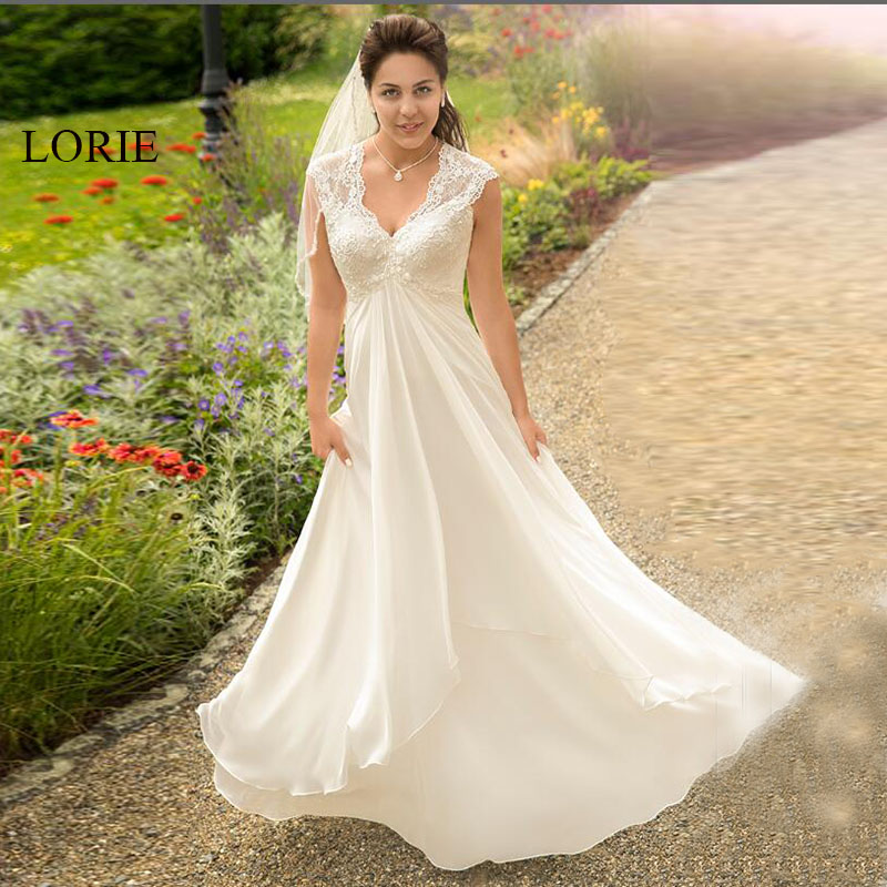 Lorie Wedding Dress For Pregnant Woman V Neck Beach Wedding Gown Cheap Backless Lace Custom Made Free Shipping Bride Dress 2019 In Wedding Dresses