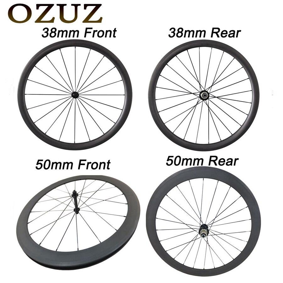 OZUZ спереди и сзади 38 50 88 мм глубина довод Трубчатые Керамика Подшипник углерода колёса 700c 23 ширина v тормоз touring колесо для дорожного байка