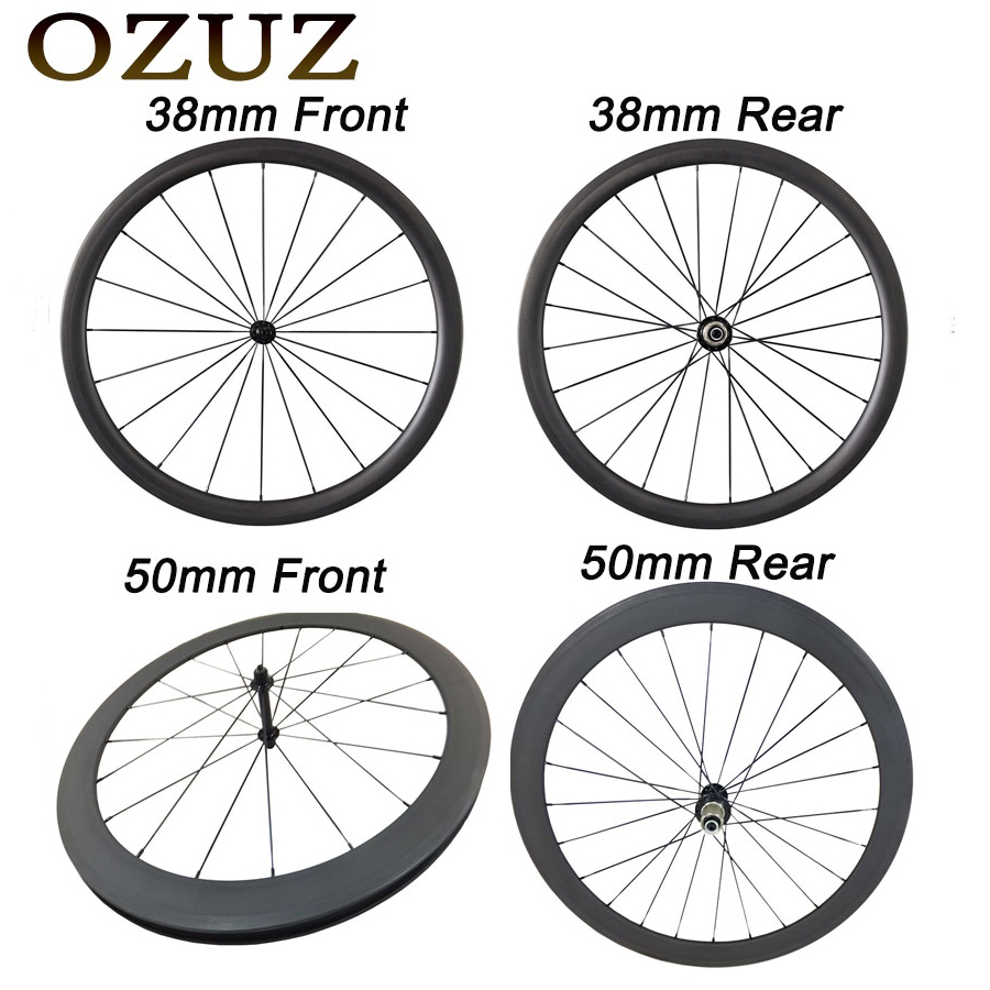 OZUZ front rear 38 50 88 mm Depth Clincher tubular Ceramic Bearing Carbon Wheels 700c 23mm Width v brake touring road bike wheelOZUZ front rear 38 50 88 mm Depth Clincher tubular Ceramic Bearing Carbon Wheels 700c 23mm Width v brake touring road bike wheel
