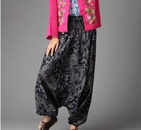 National Style Totem Printed Baggy Pants Bohemia Loose Wide Legs Pants Trouser For Women Casual Harem
