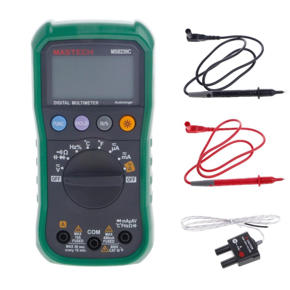 MS8239C Auto Ranging Digital Multimeter Tester Frequency Capacitance Temperature Test my68 handheld auto range digital multimeter dmm w capacitance frequency