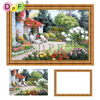 DPF Diamond Embroidery Country House Diamond Painting Cross Stitch With Frame Full Round Diamond Mosaic Kit