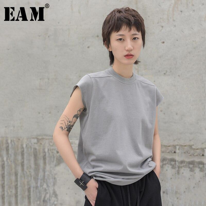 [EAM] 2020 New Spring Summer Round Neck Short Sleeve Leisure Gray Brief Burr Split Joint Loose T-shirt Women Fashion Tide JW524