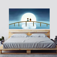 Boy and Girl Enjoy The Moon Bedside Stickers Funny Cartoon Art Wall Stickers for Kids Rooms Bedroom Home Decor XV029