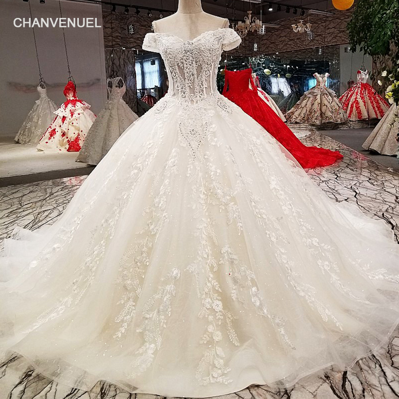 LS75278 ball gown wedding dresses off shoulder sweetheart lace up wedding dress with long train from