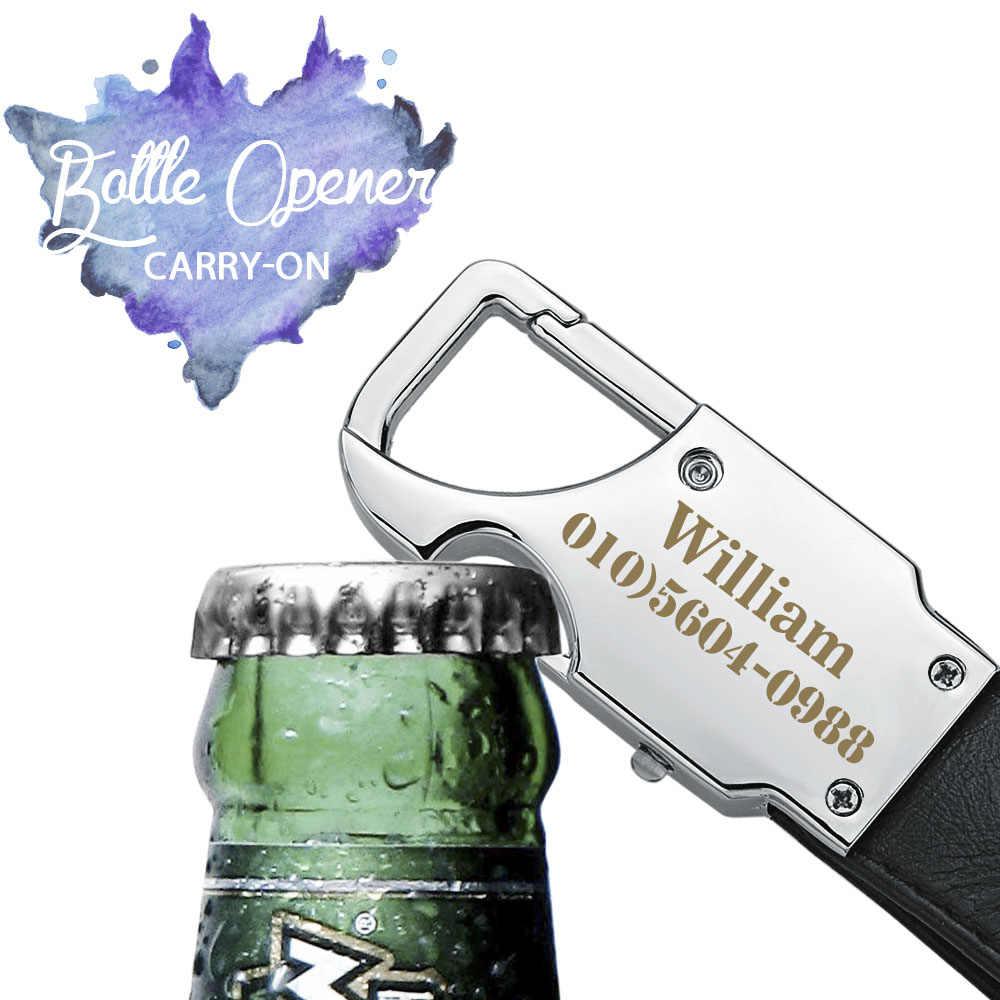 Dalaful пользовательский брелок с надписями светодиодные лампы открывалка для пива бутылка многофункциональный кожаный мужской автомобильный брелок кольцо держатель K355