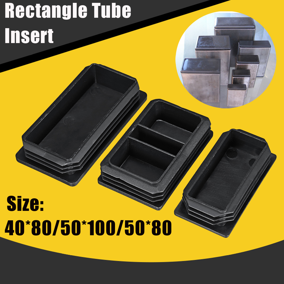 New 40x80/50x100/50x80 Rectangle Tubing Insert Plastic End Cap Finishing Plug Oblong Hole Insert