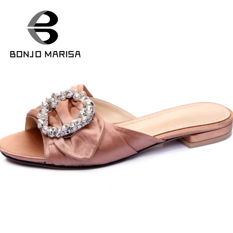 ФОТО Rhinestone Buckle Summer Shoes For Woman Flat With Open Toe Platform Slippers Beach Leisure Ladies Slides Big size33-43