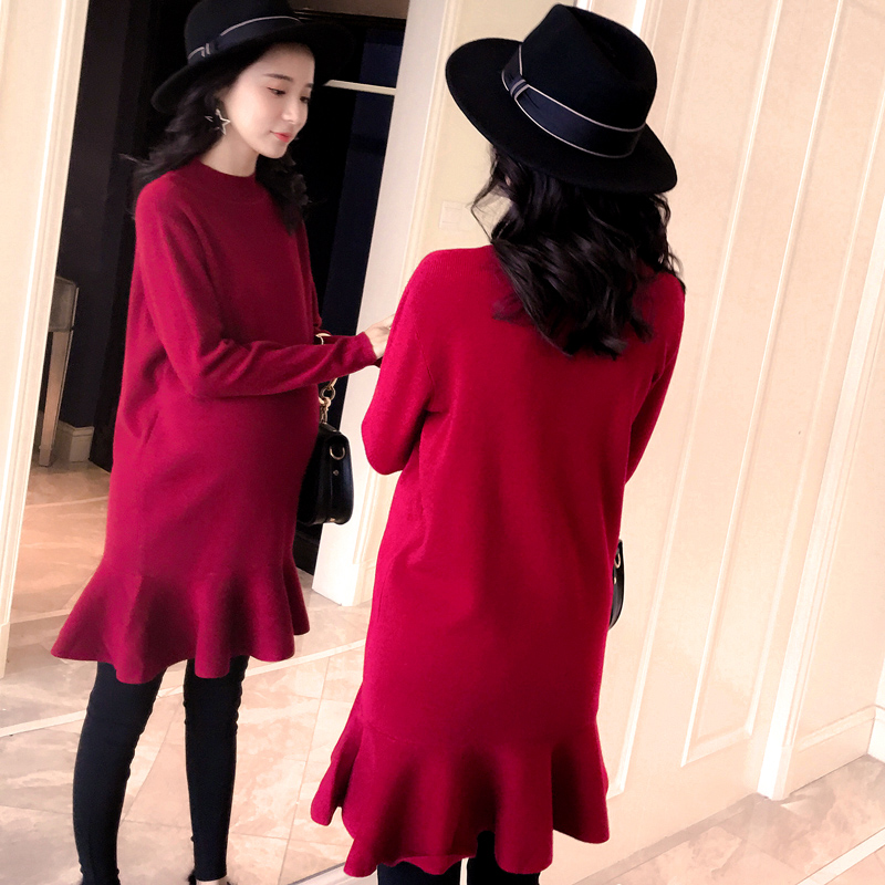 Maternity Clothes Fall Pregnant Women Sweater Knitting Dress Autumn Winter Knitted Female Loose Warm Pullover Cute Lady Dresses