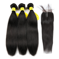 Queen Like Hair Products Human Hair Bundles Lace Closure Non Remy Hair Weft Brazilian Straight Hair