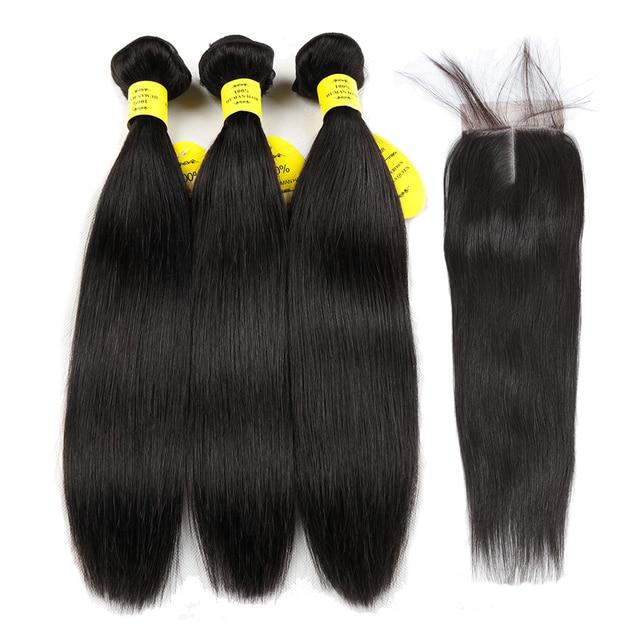 Reine comme Cheveux Produits de Cheveux Humains Regroupe Fermeture à Lacets Non Remy Cheveux Trame Brésilienne Cheveux Raides Armure 3 Bundles Avec fermeture