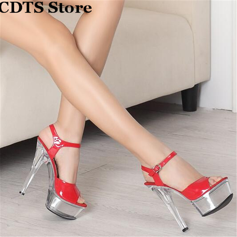 ФОТО CDTS Crossdress zapatos:34-44 Fashion Ankle Strap pumps women's shoes 15cm thin high-heeled transparent crystal platform sandals