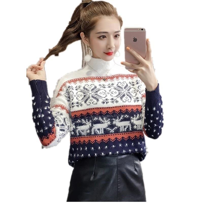 Blusas Da Moda 2018 Mulheres De Natal De Malha Camisola do Pulôver Quente Outono Inverno Ladies Jumper Camisolas Roupas Casaco Feminino