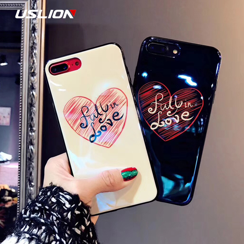 USLION <font><b>Blu-Ray</b></font> Love Heart <font><b>Fall</b></font> in Love Print Couple Phone Cases For iPhone X 8 7 6 6S Plus Fashion Soft TPU Cover Back Case Capa