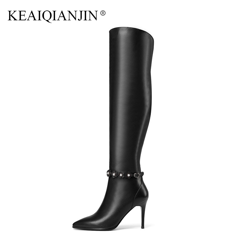 KEAIQIANJIN Femme Fleur Genou Haute Bottes Noir Automne Hiver Chaussures À Talons Hauts Mode Blanc En Cuir Véritable Genou Haute Bottes 2018