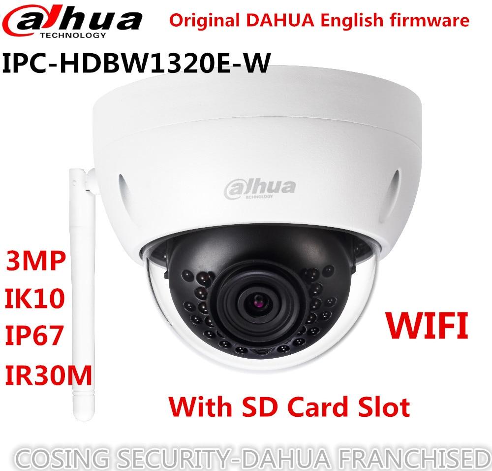 Original Dahua 3MP IP Camera IPC-HDBW1320E-W IR Mini Dome security Camera wifi CCTV IP wireless camer DH-IPC-HDBW1320E-W IP CAM dahua original 8ch 3mp h2 64 dh ipc hdbw1320e 8pcs dome cctv ip security camera poe dahua dhi nvr4208 4ks2 network camera kit