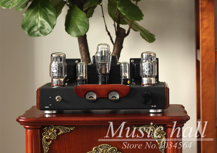 Music Hall HiFi Audio Class A Wood Version Single-ended PSVANE KT88 Tube Amplifier Brushed Metal Panel Finished Product 110/220V music hall latest appj assembled fu32 tube amplifier audio single ended class a power amp board hifi diyer free shipping