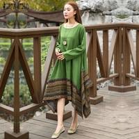 ZANZEA Fashion Women Patchwork Vintage Long Dress Spring Autumn Long Sleeve O Neck Loose Dresses Vestidos