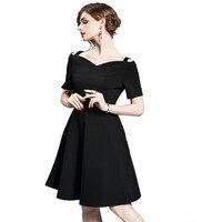 2017 European Style Small Incense Wind Small Simple Hepburn Sdress States Slim Retro Little Black Dress Summer Dress