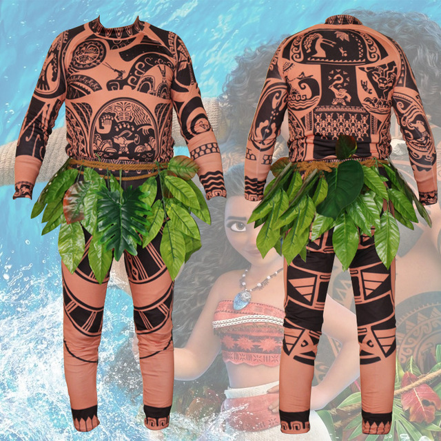 cartoon movie moana maui cosplay costume mens fashion halloween costumes for men adult carnival party printed
