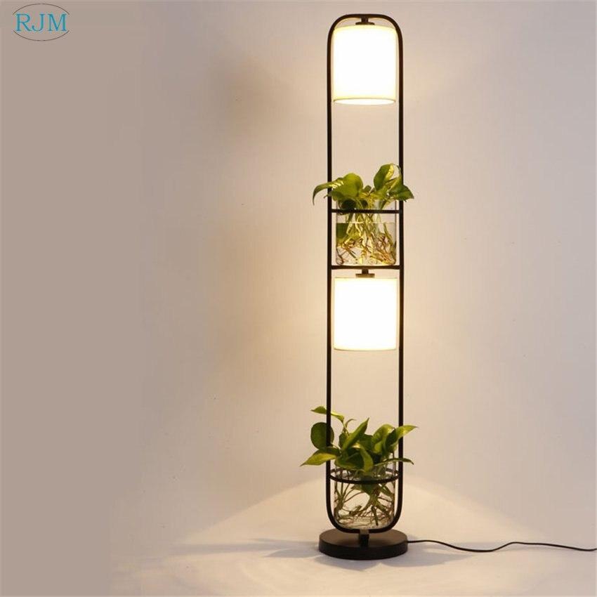 Living Room Lamp Shades: New Modern Art Creative Plants Floor Lamps Iron Cloth Lamp