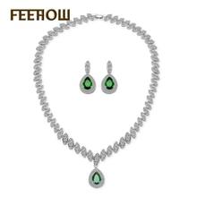 FEEHOW Luxury Marquise Cubic Zirconia Surrounded Jewelry Set Big Teardrop Dangle Jewelry For Women Wedding FWSP057
