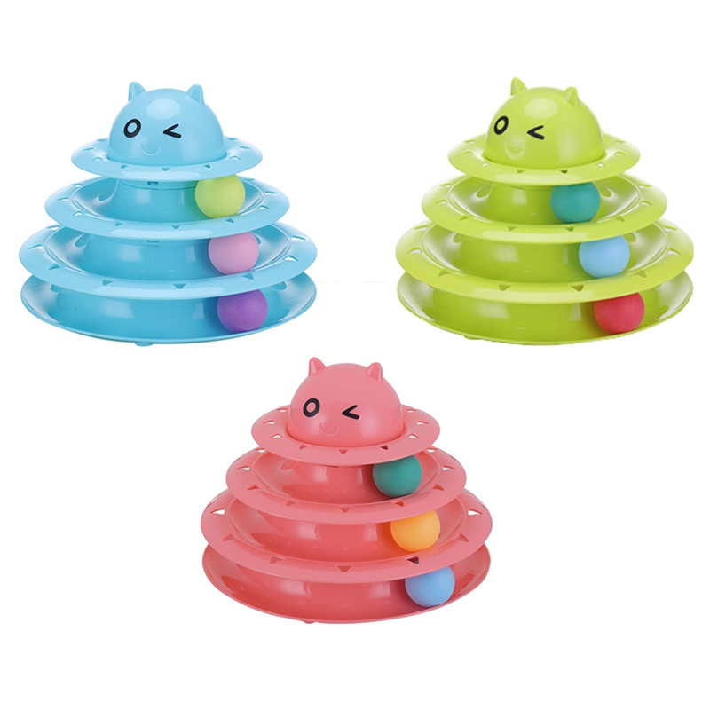 Plastic Three Levels Tower Tracks Disc Cat Toy Amusement Shelf Play Station Pet Cats Triple Play Disc Ball Toys Jouet Chat Toys
