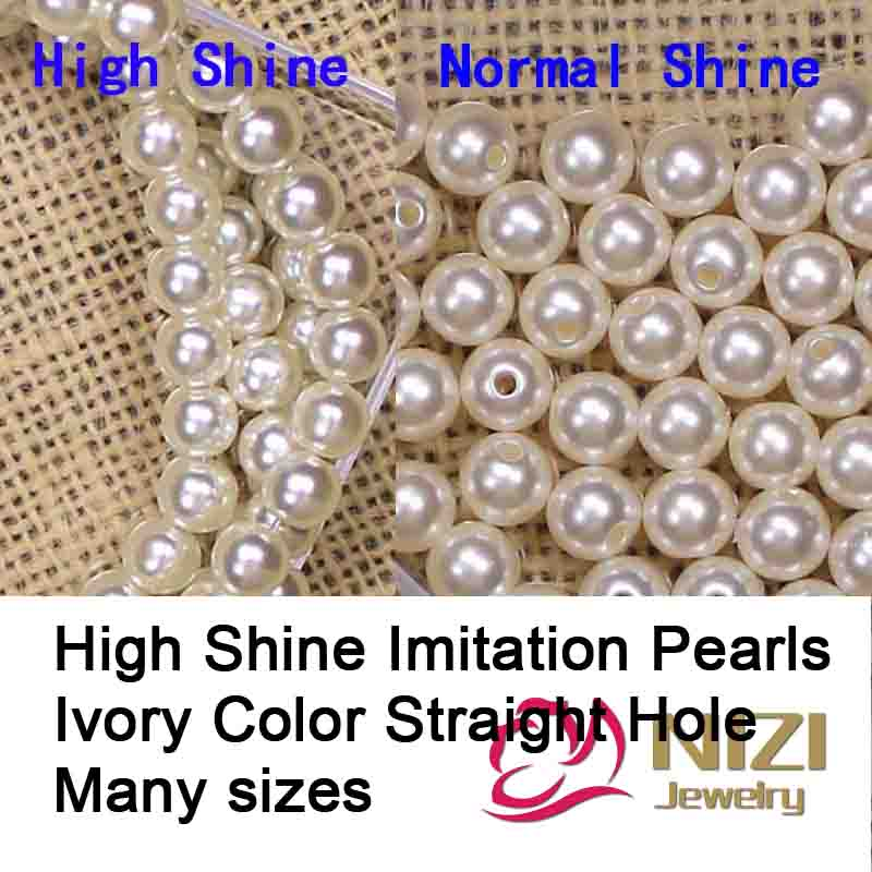 Wholesale High Shine Pearls For Jewelry Making Ivory Resin Imitation Pearls Round Shape With Straight Hole Many Sizes For Choose pearls white and ivory 16 24mm abs resin imitation round pearls with hole high shine pearls