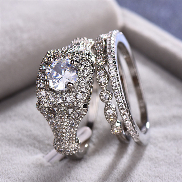 Male Female Crystal Big Stone Ring Set Luxury 925 Silver Round Engagement Ring Vintage Bridal Wedding Rings For Women 1