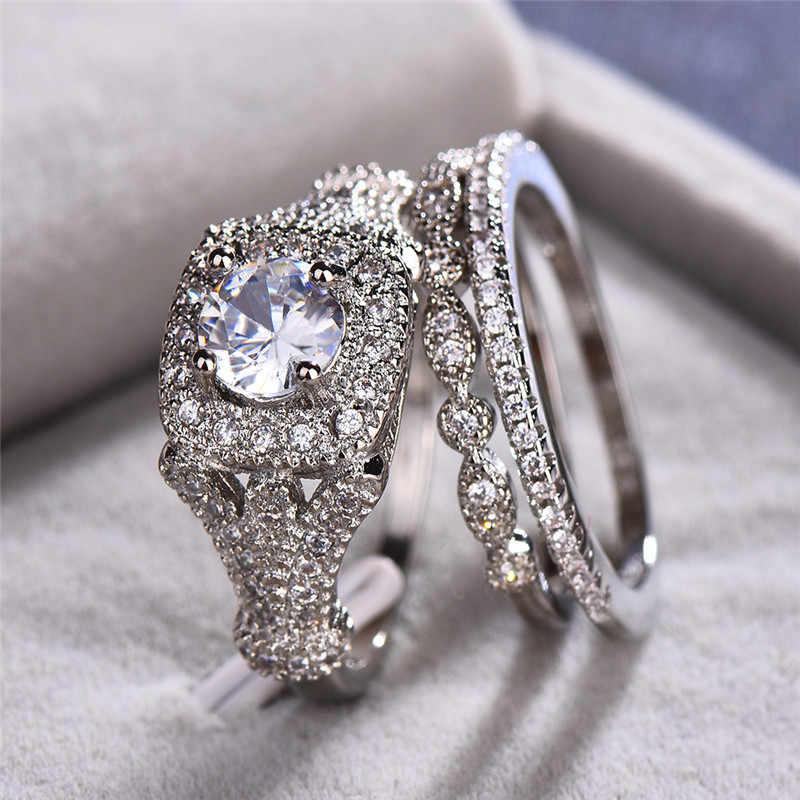 ชายหญิงคริสตัล Big Stone แหวนหรูหรา 925 เงินรอบหมั้นแหวนเจ้าสาวงานแต่งงานแหวน