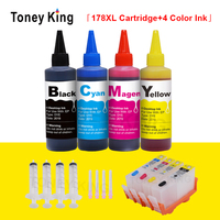 Toney king substituição para hp 178 xl cartucho de tinta photosmart 7510 5515 b109 b110 b210 b209 cartuchos + kit reenchimento tinta impressora