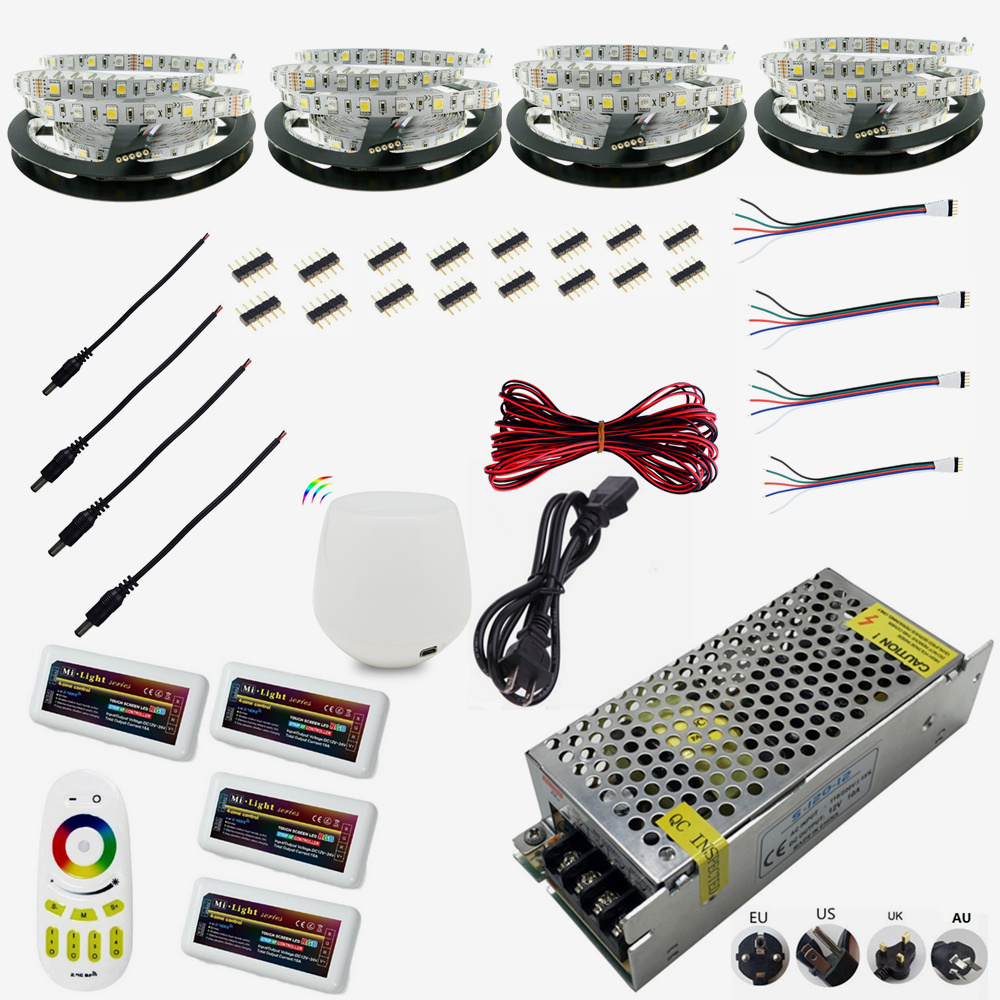 Bande de LED Flexible WIFI 12 V 5050 300 LED 5 M/RollRGBW RGB IP65 étanche 20 M LED ruban ruban Dimmable LED Kit de bande de corde