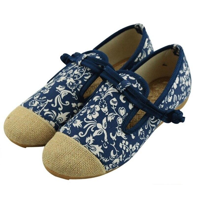 Estilo nacional de la Mujer Mocasines Zapatos Viejos de Pekín Planos Del Talón M
