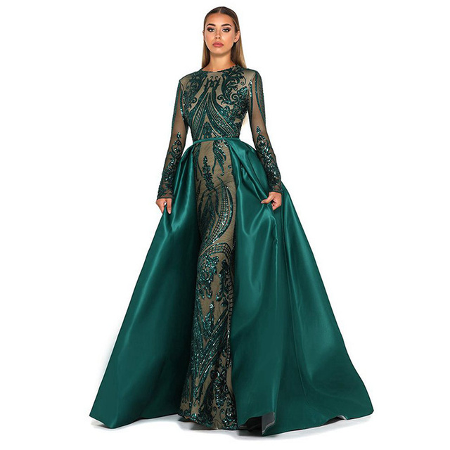Muslim Evening Dress 2019 Sparkly Sequin Long Sleeve Detachable Train Emerald Green Kaftan Arabia Formal Party Gown Prom Dress 1