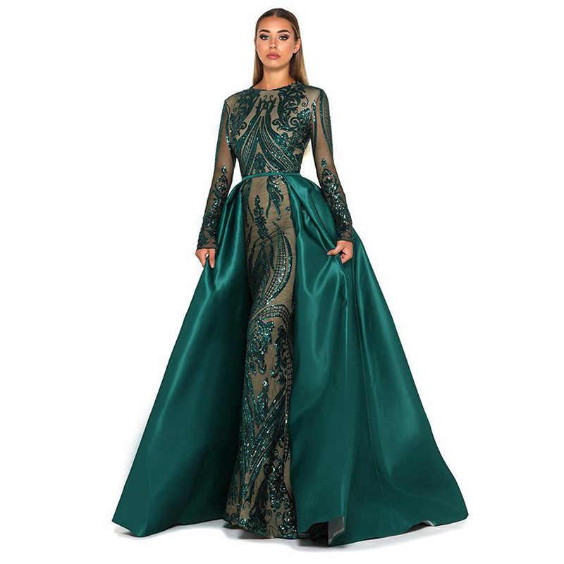 Robe De Soiree 2019 мусульманское вечернее платье Блестки Блестящий длинный рукав Съемный Поезд зеленая Аравия для официального торжества выпускного вечера платье