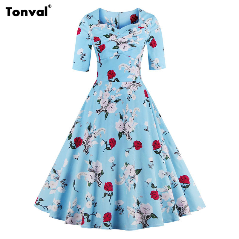 Tonval 1950s Flowers Blue Cotton Dress Women Half Sleeve Autumn Vintage  Dresses Plus Size 4XL Elegant Swing Dress efbcc3b7ef9c