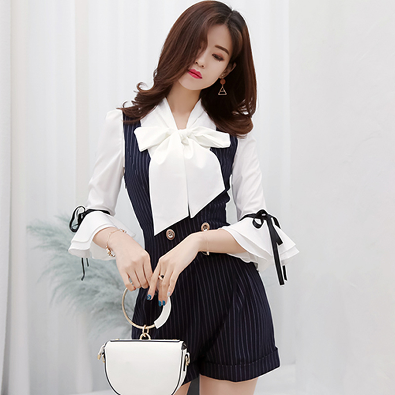 2018 Summer Bowknot Falre Sleeve White Blouse Striped Navy Jumpsuit Casual Two Piece Sets