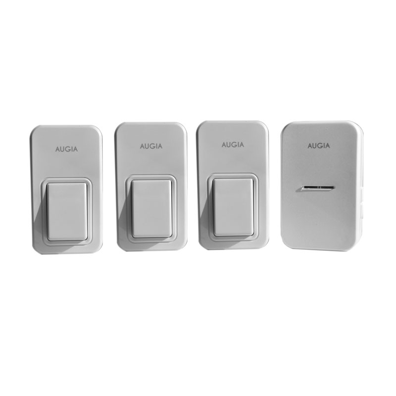 Augia 3 buttons + 1 receiver wireless home bell loud sound 110m long range waterproof button ring call 220V doorbell