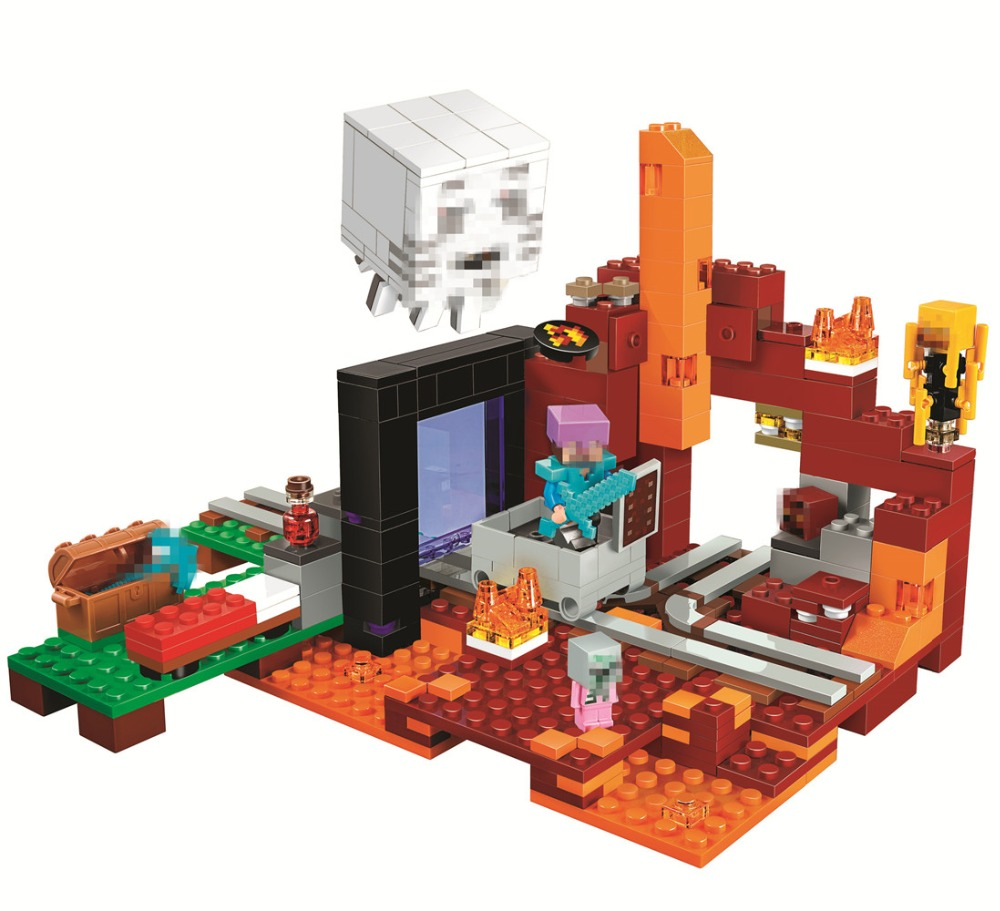 BELA The Nether Portal Building Blocks Sets Bricks Movie Classic Model Kids Minecrafted Toys For Children Compatible Legoe lepin my world minecraft 18038 527pcs the nether portal building blocks bricks enlighten toys for children compatible with 21143