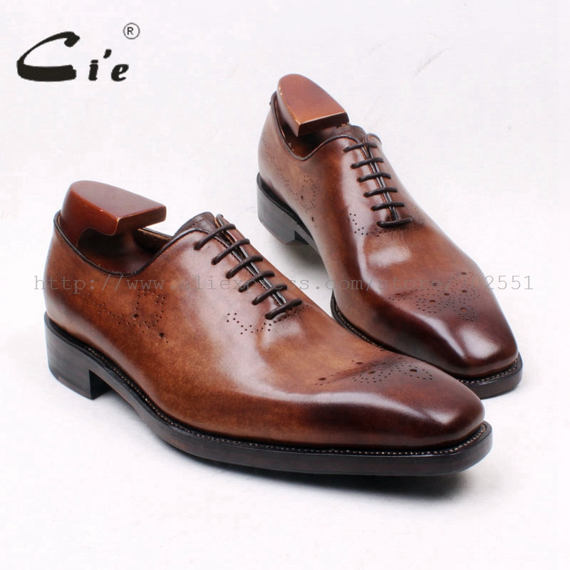 цена на cie Square Toe Whole Cut Lace-Up Oxfords Patina Brown 100%Genuine Calf Leather Outsole Breathable Goodyear Welted Men Shoe OX664