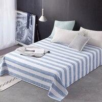 1 piece Reactive Dyes Summer Flat Sheet Blue/White Stripe Bedsheet Xinjiang Long staple Cotton Sheet For Children/Adults
