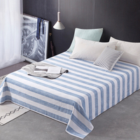 Simple Stripe Summer Flat Sheet For Single Double Bed Blue Cotton Sheets For Children/Adults No Pillowcase Twin Queen King Size