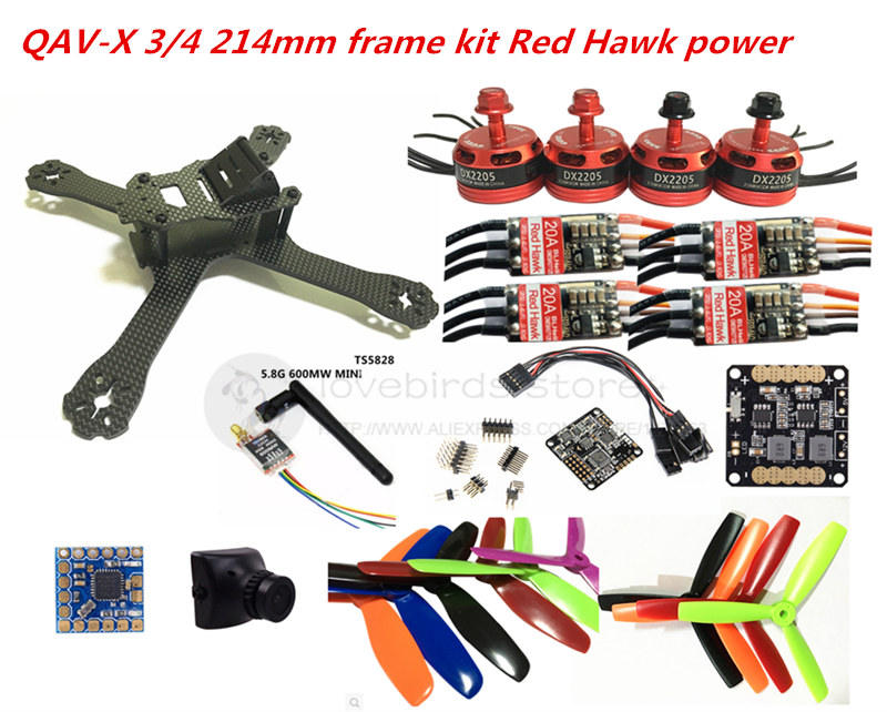 DIY FPV mini drone QAV-X 214mm pure carbon frame kit Red hawk DX2205+Red Hawk BL20A ESC OPTO + NAZE32 Rev6 10DOF + 700TVL camera drone with camera rc plane qav 250 carbon frame f3 flight controller emax rs2205 2300kv motor fiber mini quadcopter