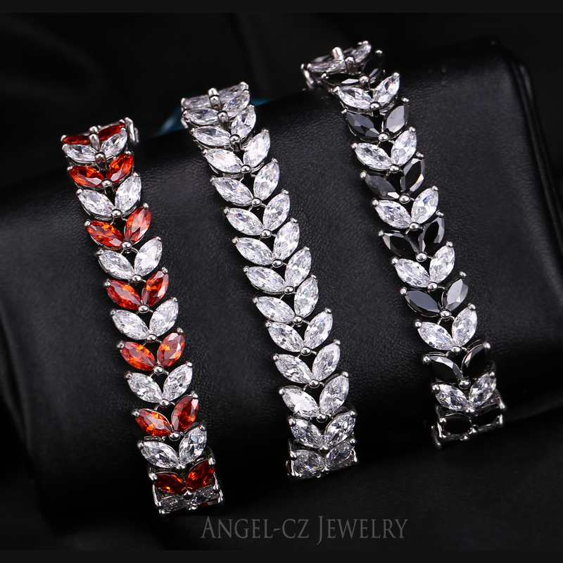 ANGELCZ 18 New Design Women Dress Jewelry Leaf Cubic Zirconia 925 Sterling Silver Strand Bracelet With Red Black Stone AB007 5