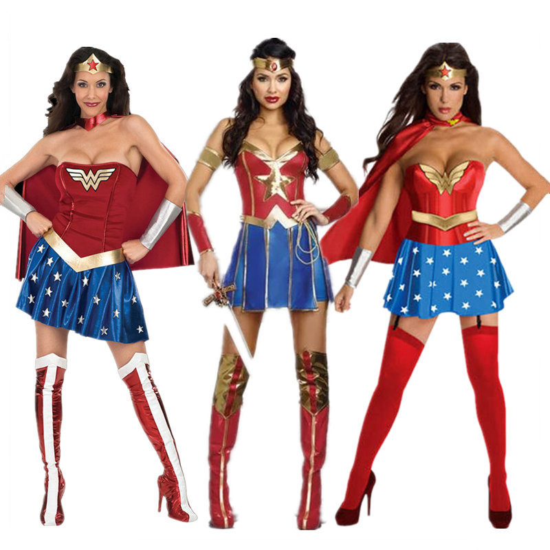 Hot Female Superhero Wonder Women Cosplay Costumes Halloween Ladies Super Girl DianCosplay Bodysuit Outfit Halloween Fancy Dress