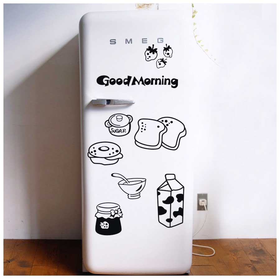 Practical Good morning breakfast combination wall decals Warm family dining room kitchen fridge decorative wall stickers
